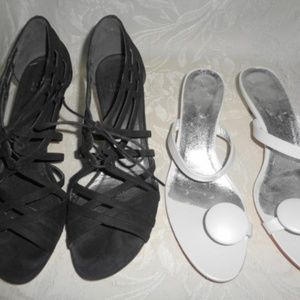 2 STUART WEITZMAN Black Suede & White Low Heels 8